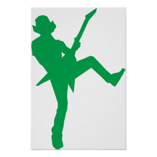 Green Guitar Player Silhouette Poster