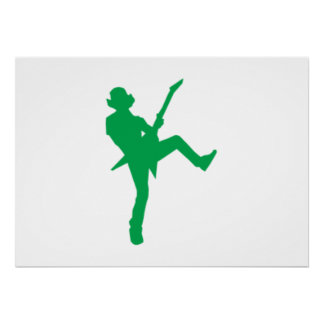Green Guitar Player Silhouette Print