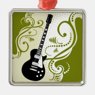 Green Guitar Style Silver-Colored Square Decoration