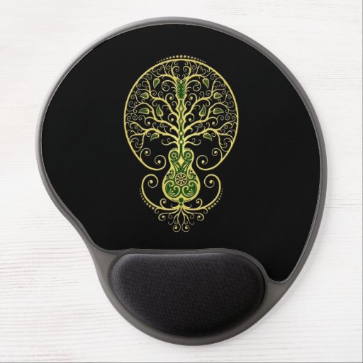Green Guitar Tree of Life on Black Gel Mouse Pad