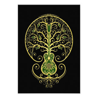 Green Guitar Tree of Life on Black Invitation
