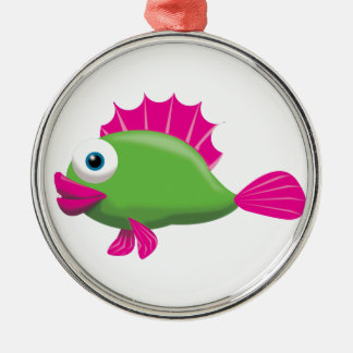 GREEN GUPPY Silver-Colored ROUND DECORATION