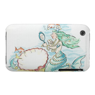 Green-haired mermaid wearing large selection of iPhone 3 cover