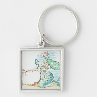 Green-haired mermaid wearing large selection of key ring