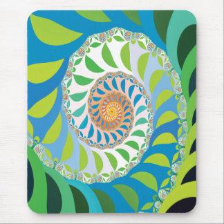 Green Half Moon Spiral Fractal Mouse Pad
