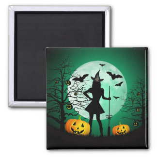 Green Halloween Square Magnet