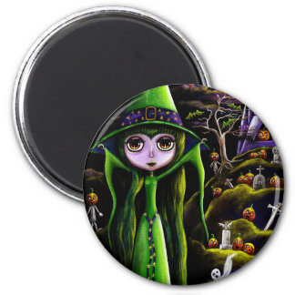 Green Halloween Witch Magnet