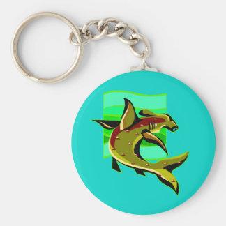 Green Hammerhead Shark Key Ring