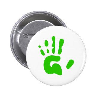 Green Hand Print 6 Cm Round Badge