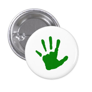 Green Handprint 3 Cm Round Badge