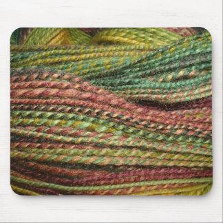 green handspun yarn mouse mat