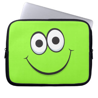 Green happy cartoon smiley face laptop sleeve
