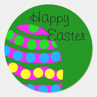 Green Happy Easter Egg Sticker Round Sticker