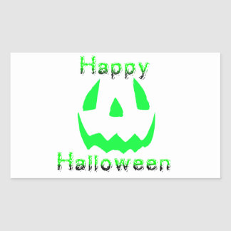 Green Happy Halloween Rectangular Sticker