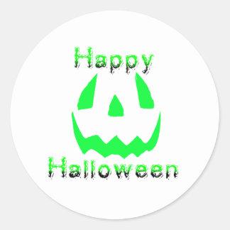 Green Happy Halloween Round Sticker