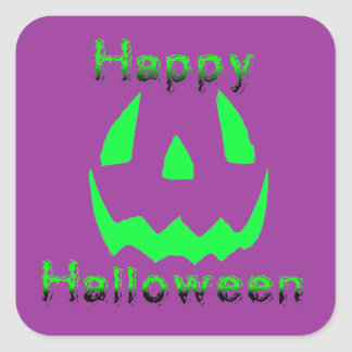 Green Happy Halloween Square Sticker