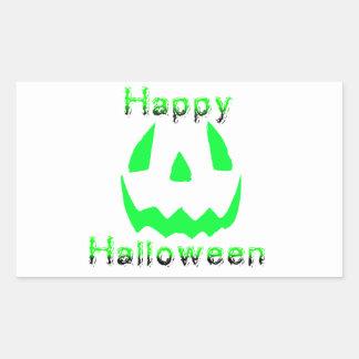 Green Happy Halloween Rectangle Stickers