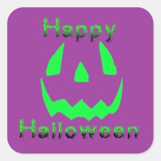Green Happy Halloween Square Sticker