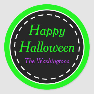 Green Happy Halloween Stickers