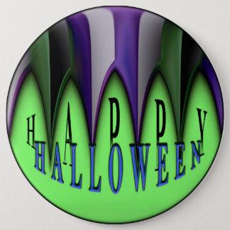 Green Happy Halloween Striped Fangs 6 Cm Round Badge