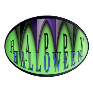 Green Happy Halloween Striped Fangs Platter Porcelain Serving Platter
