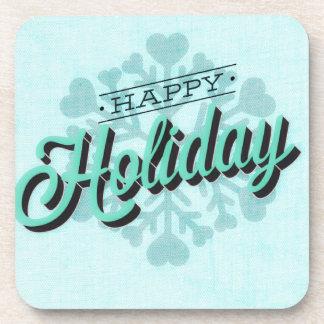 Green Happy Holiday Snowflake Coaster