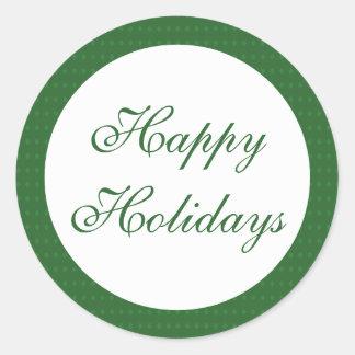 Green Happy Holidays Classic Round Sticker