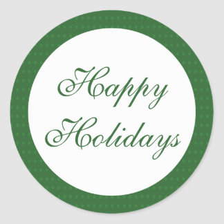 Green Happy Holidays Round Sticker
