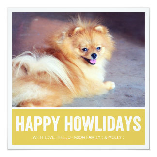 Green Happy Howlidays - Pet Photo Holiday Cards Personalized Invite