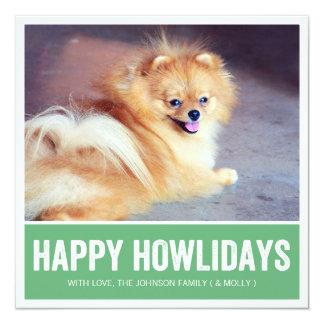 Green Happy Howlidays - Pet Photo Holiday Cards Invites