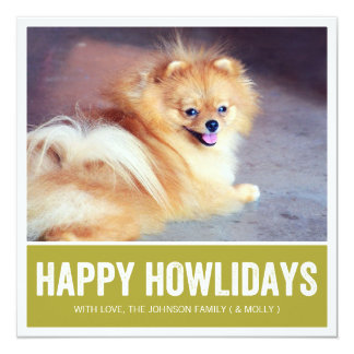 Green Happy Howlidays - Pet Photo Holiday Cards Announcement