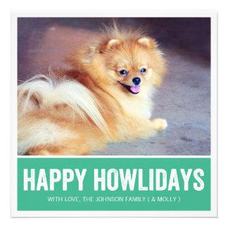 Green Happy Howlidays - Pet Photo Holiday Cards