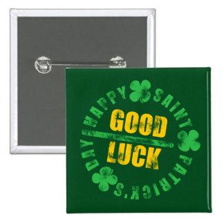 Green Happy Saint Patricks Day Good Luck 15 Cm Square Badge