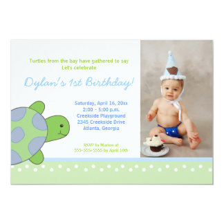 Green Happy Sea Turtle Birthday Invitation 5x7