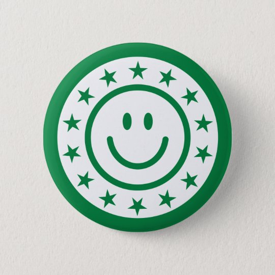 Green happy smiley stamp or seal with stars button