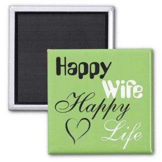 Green Happy Wife Happy Life Magnet