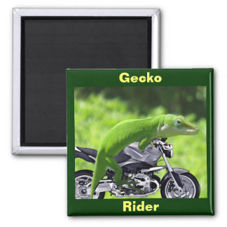 Green Hawaiian Gecko Rider Magnet