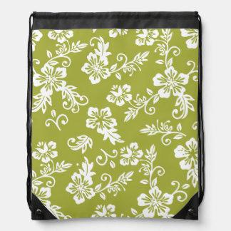 Green Hawaiian Print Drawstring Backpack