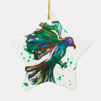 Green Hawk Splatter Watercolour Bird Design Ceramic Star Decoration