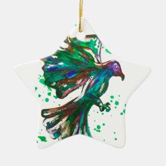 Green Hawk Splatter Watercolour Bird Design Christmas Ornament