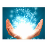 Green healing hands chakra Reiki energy zen yoga Postcard