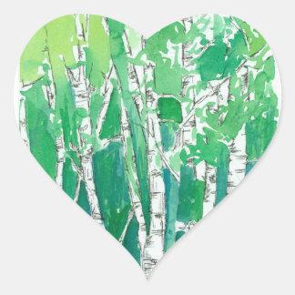 Green Heart Aspen Trees Pen and Ink Art Heart Sticker