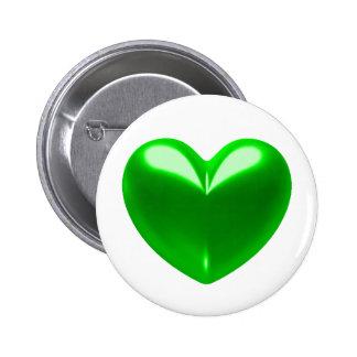 GREEN HEART 6 CM ROUND BADGE