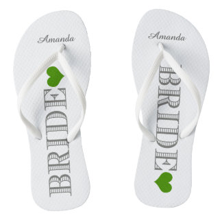 Green Heart Bride's Flip Flops