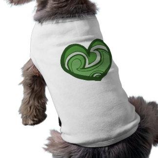 Green Heart Doodle Sleeveless Dog Shirt