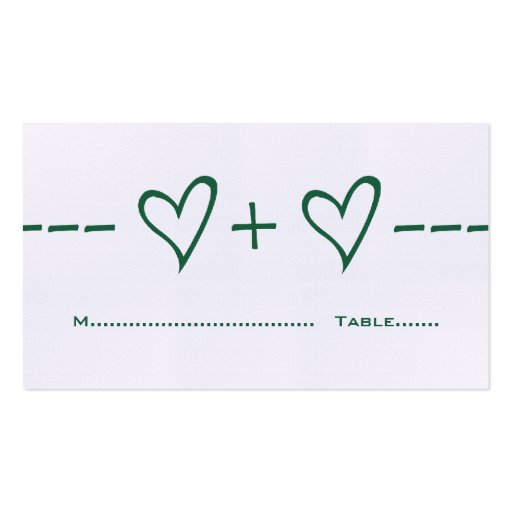 Green Heart Equation Place Card Business Cards