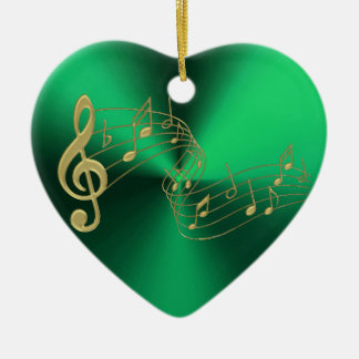 Green Heart Gold Music Notes Christmas Ornament