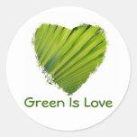 Green Heart, Green Is Love Round Sticker