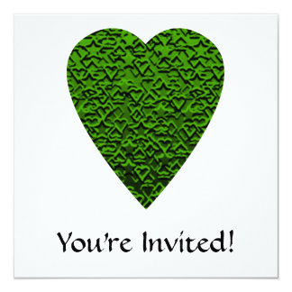 Green Heart. Patterned Heart Design. 13 Cm X 13 Cm Square Invitation Card
