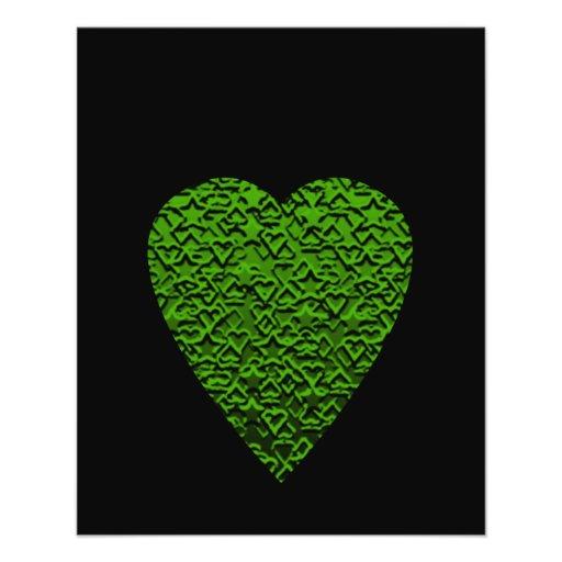 Green Heart. Patterned Heart Design. Flyers